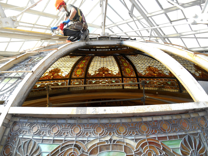 The Hibernia Bank - Onsite Glazier Restoring Stained Glass Dome