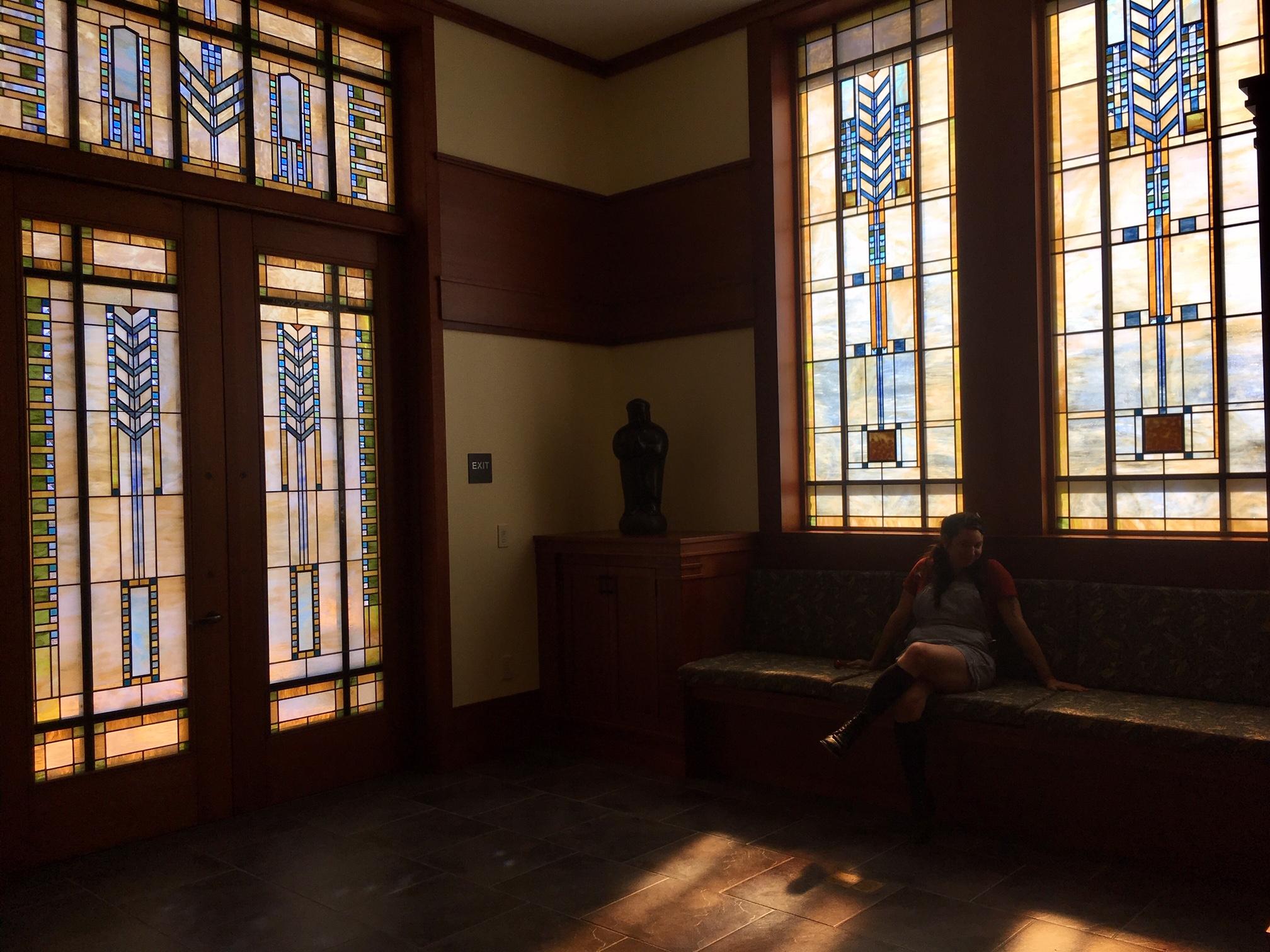 Doorway and windows of the winery tasting room.